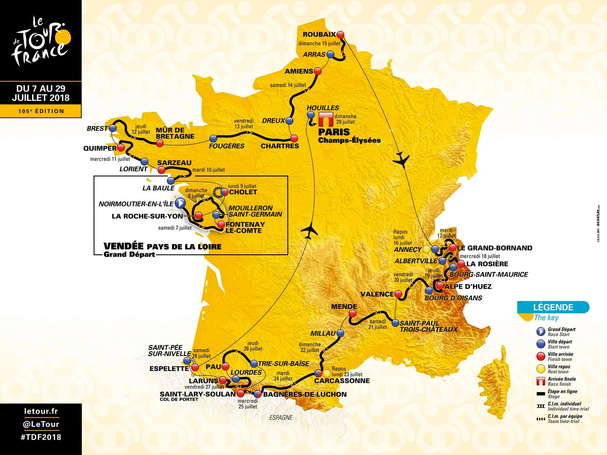 Cyclisme : le tour de France 2018 en Bretagne !